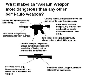 Here's what they're all scared of...by the way, many handguns with aftermarket clips can carry more than 30 rounds....scary!